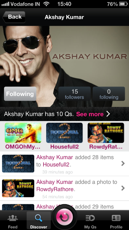 photo Akshay Kumar now on a mobile app called Quze!