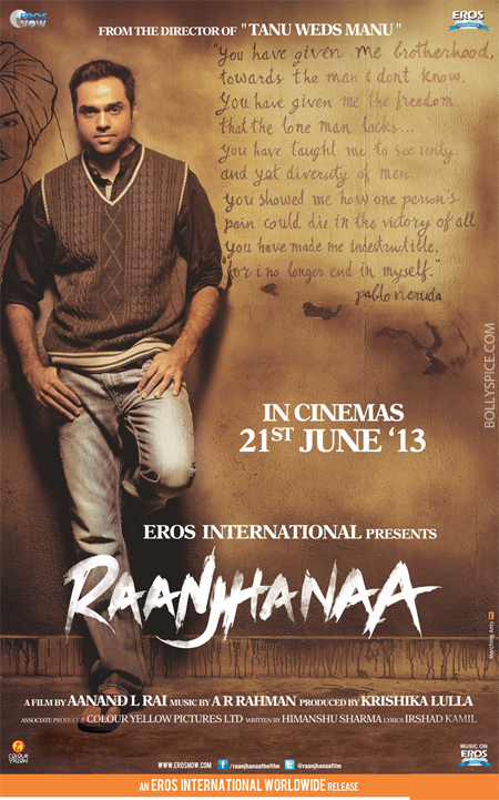 13apr raanjhanaaposter 02 A look at Raanjhanaa