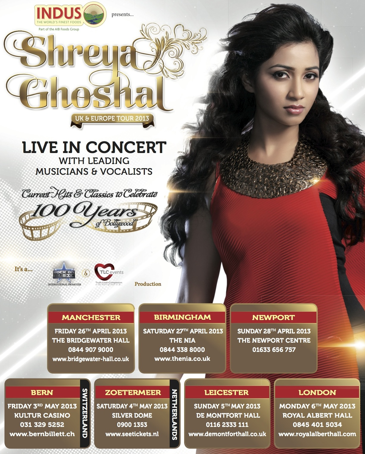 TOUR POSTER SHREYA GHOSHAL Shreya Ghoshal back with U.K and European tour