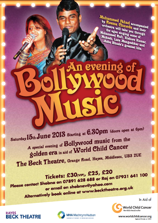 13may Bollywood BeckTheatre An Evening of Bollywood for World Child Cancer