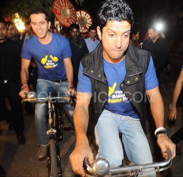 Ritesh Sidhwani and Farhan Akhtar during the music launch of Fukrey