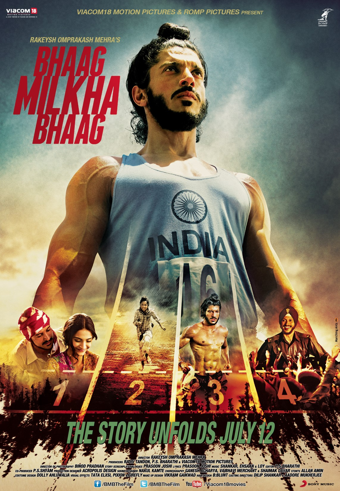 13jun BMB Poster02 Olympic Hero and Indian Idol, Milkha Singhs incredible life story gets Silver Screen debut in Bhaag Milkha Bhaag