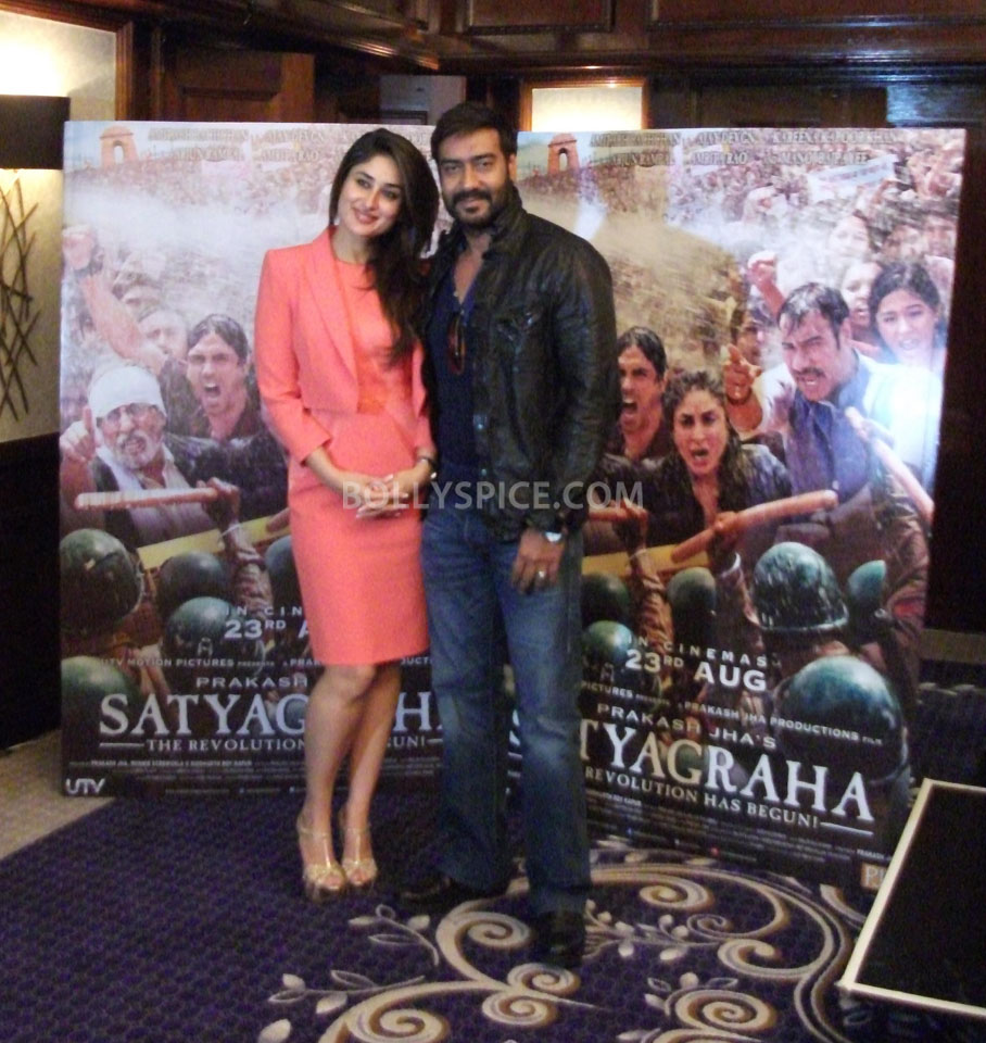 13jun Kareena Ajay Satyagraha London01 UTV Motion Pictures launches Satyagraha trailer in London and Mumbai