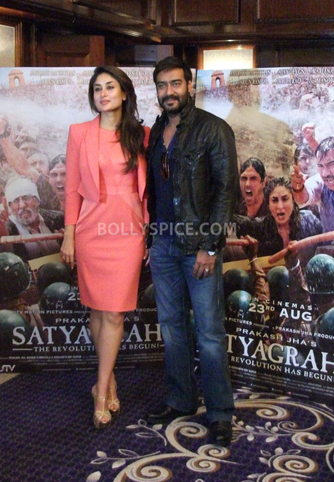 13jun Kareena Ajay Satyagraha London02 UTV Motion Pictures launches Satyagraha trailer in London and Mumbai