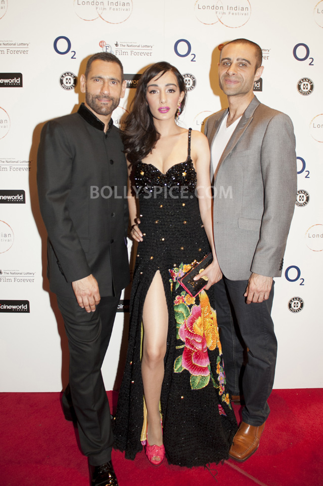 Actress and Brand Ambassador Feryna Wazheir with Festival Director Cary Sawhney and actor Rez Kempton at gala opening of London Indian Film Festival