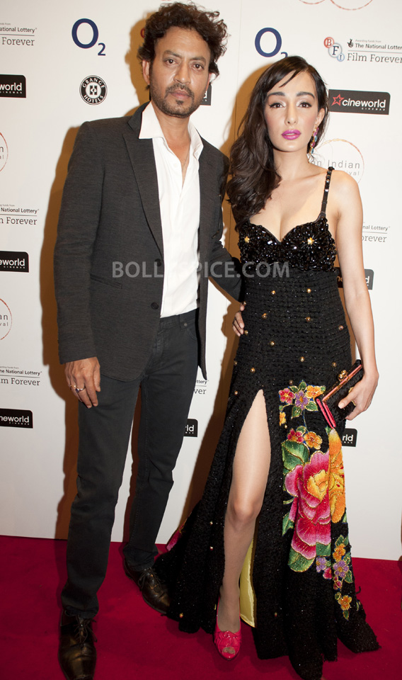 Feryna Wazheir with Irrfan Khan at gala opening of London Indian Film Festival