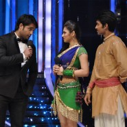 Surprise guest Rishabh Kundra (Vivian Dsena - Madhubala) with Drasti Dhami and choreographer Salman Khan