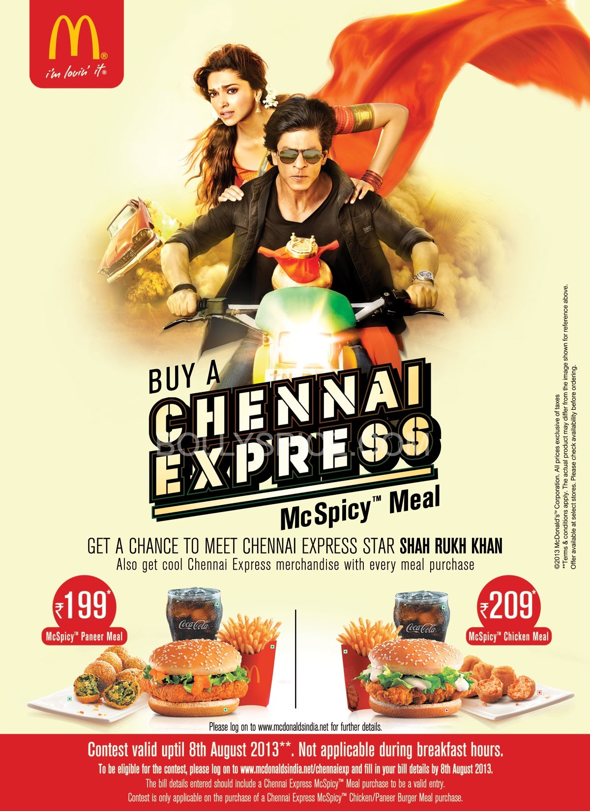 srkchennaiexpressmcdonalds01 Cool promotion! Order a Chennai Express McDonalds McSpicy meal and get a chance to meet Shah Rukh Khan!