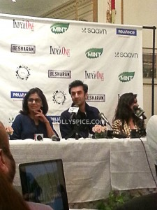 13sep Besharam NY03 225x300 Bollywood without The Kapoors is like Superman without his Red Underwear: Ranbir at NY Besharam Press Conference!