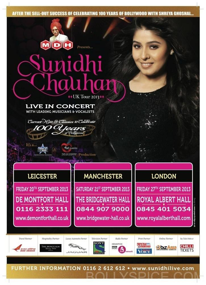 sunidhichauhanuktour3 Sunidhi Chauhan Begins UK Tour and To Perform at Royal Albert Hall on September 27th!