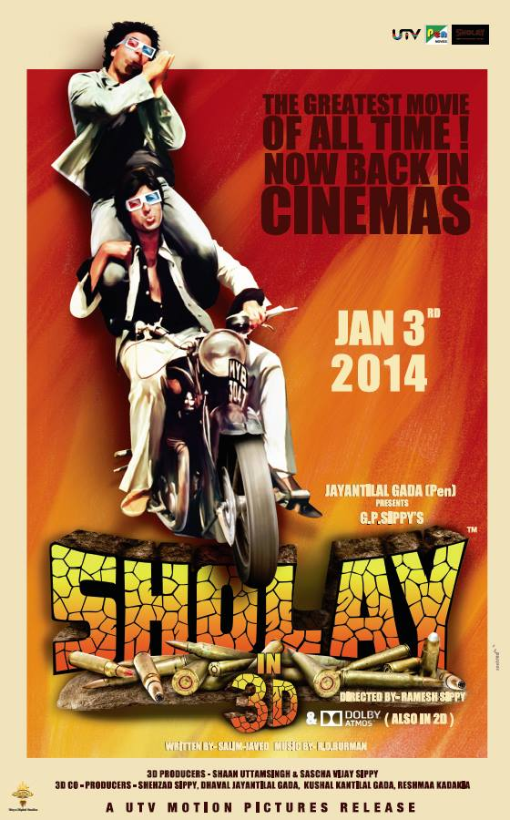 sholay3dposter Sholay is back and in 3D, check out the trailer!