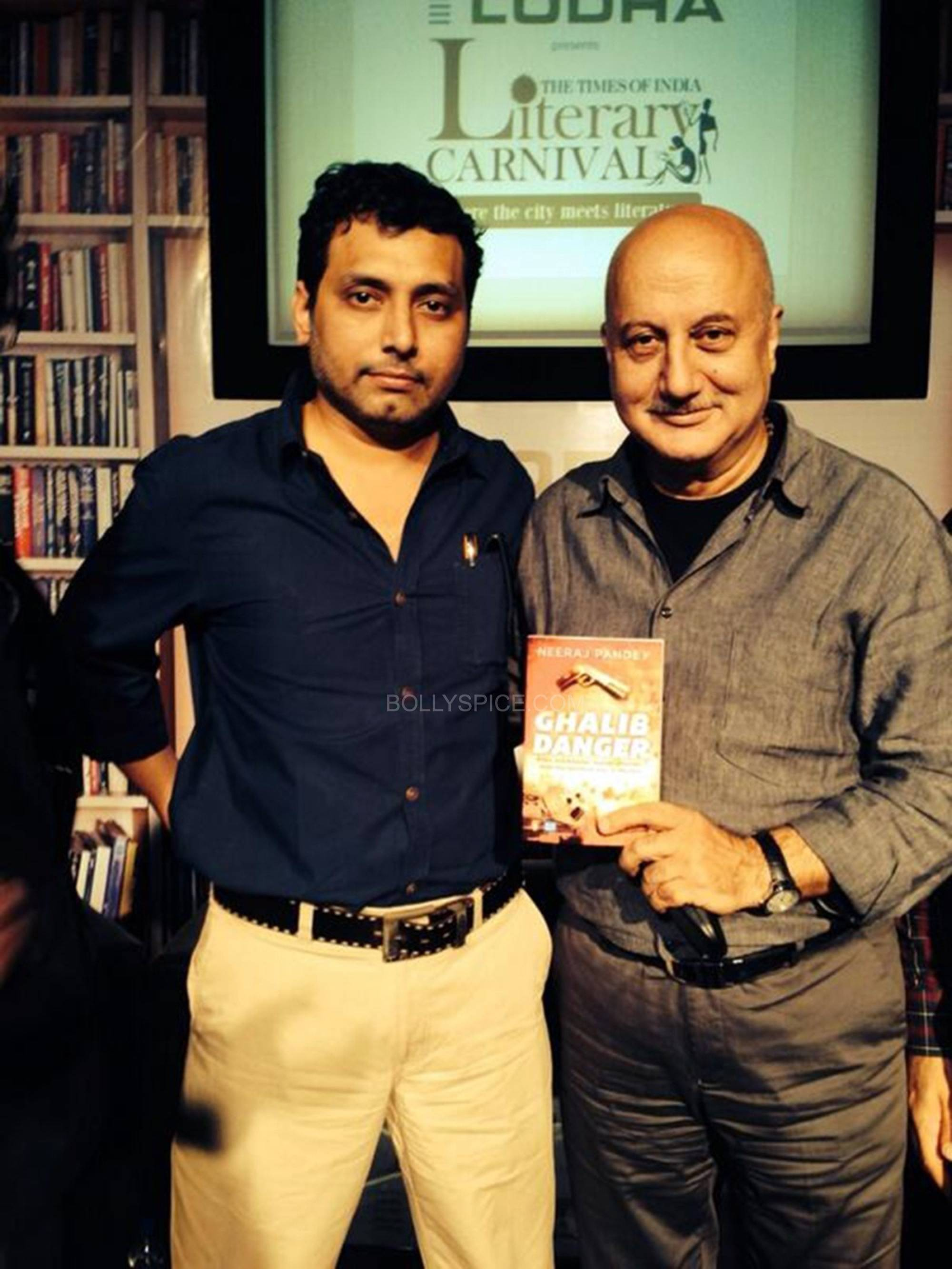Anupam Kher and Neeraj Pandey at the book launch of Ghalib Danger Neeraj Pandeys debut novel 'Ghalib Danger' launched in Mumbai!