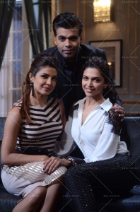 14jan KWK4 PriyankaDeepika02 198x300 Koffee with Karan Preview: Priyanka Chopra and Deepika Padukone