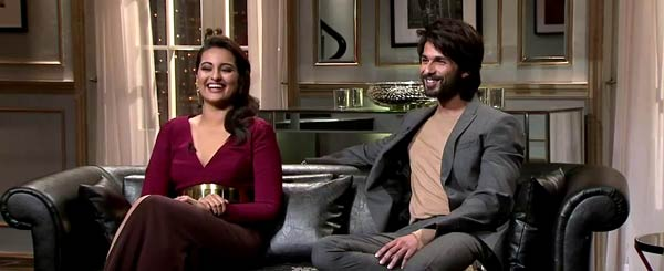 14feb KWK4 Sonakshi Shahid Koffee with Karan Season 4: With Shahid Kapoor and Sonakshi Sinha