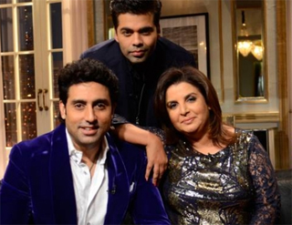 14feb kwkabhifarh Koffee With Karan Season 4: Abhishek Bachchan & Farah Khan