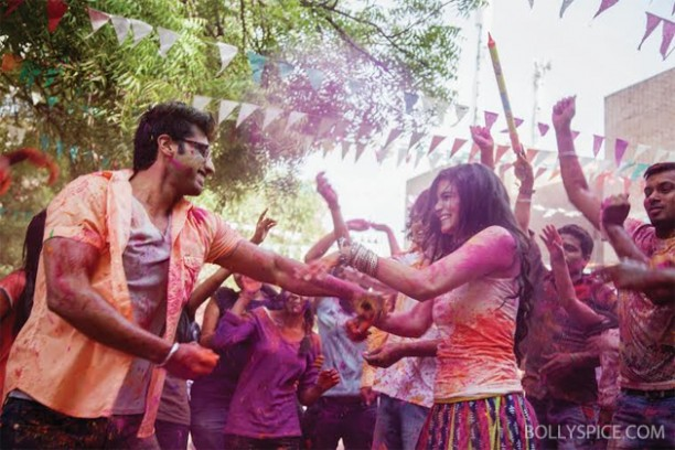 14mar 2statesholi 01 612x408 Alia Bhatt and Arjun Kapoor celebrate Holi in 2 States