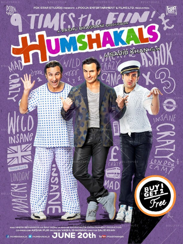 14mar Humshakals poster01 612x816 Sajid Khan unveils first look of Humshakals