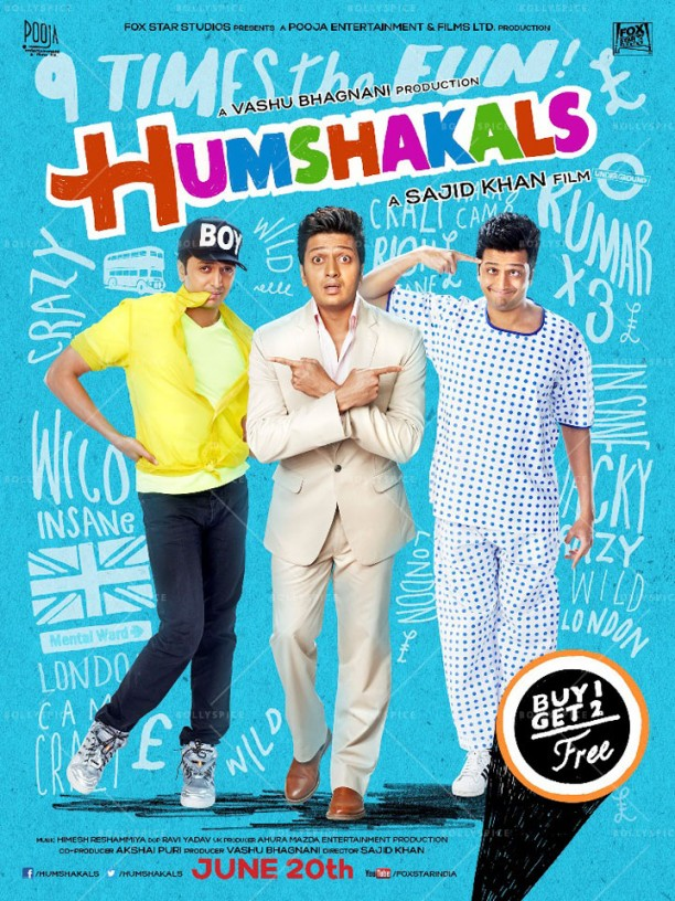 14mar Humshakals poster02 612x816 Sajid Khan unveils first look of Humshakals