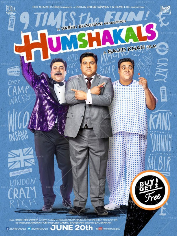 14mar Humshakals poster03 612x816 Sajid Khan unveils first look of Humshakals
