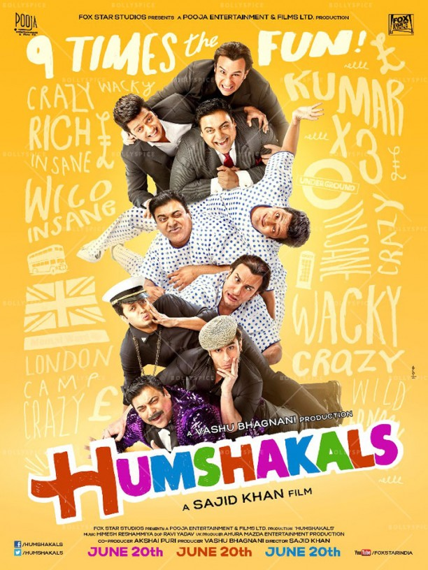 14mar Humshakals poster04 612x816 Sajid Khan unveils first look of Humshakals