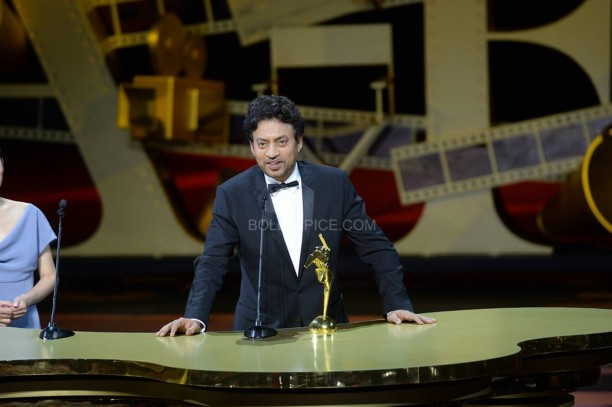 irrfankhanthelunchboxatasianfilmawards3 612x407 Irrfan Khan Wins Best Actor for The LunchBox At Asian Film Awards