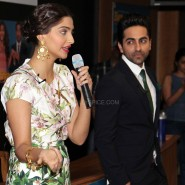 sonam kapoor and ayushman khurana 1 185x185 Sonam and Ayushman at Bewakoofiyaan Press Conference Welingkar College