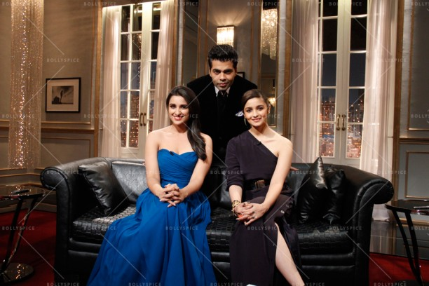 14apr KWK4 AliaParineeti 612x408 Koffee with Karan 4 Preview: Alia Bhatt and Parineeti Chopra (Season Finale)