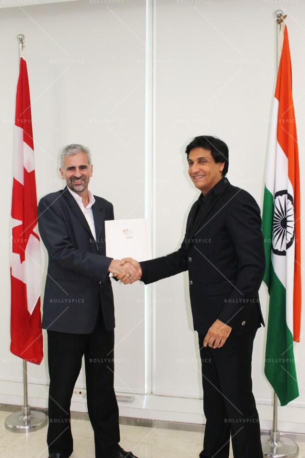 14apr ShiamakConsulGeneralRichardBale01 612x918 Shiamak Davar honoured with medallion and citation by the Governor General of Canada