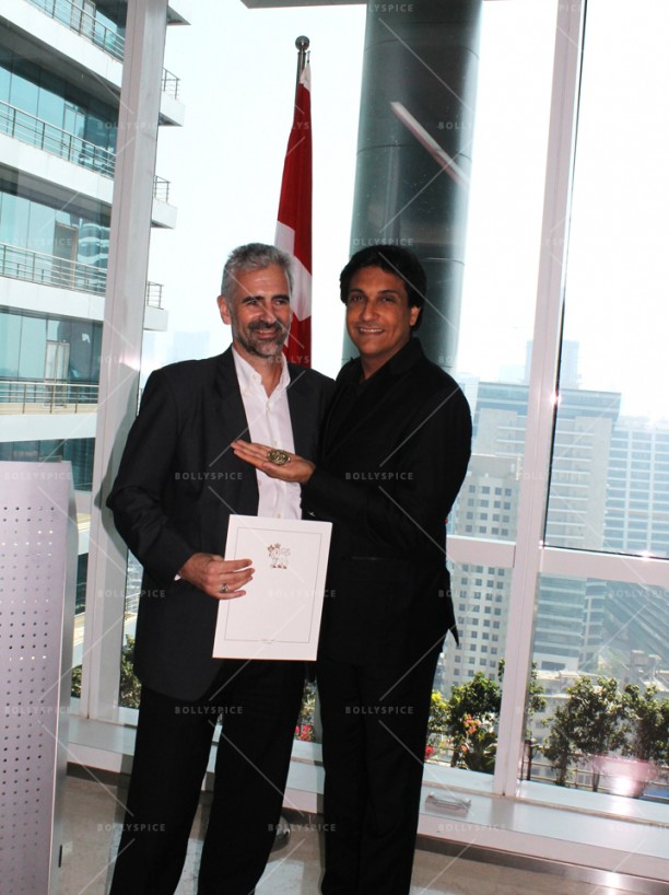 14apr ShiamakConsulGeneralRichardBale02 612x818 Shiamak Davar honoured with medallion and citation by the Governor General of Canada