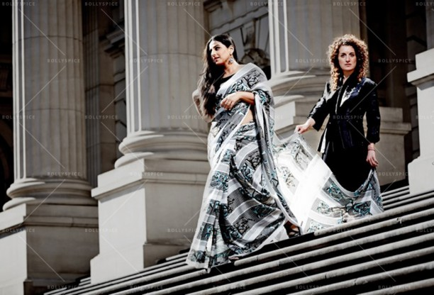 14apr VidyaBalan DimasiIsogawa02 612x416 Vidya Balans stunning photo shoot with Australian designers   Akira Isogawa and Susan Dimasi
