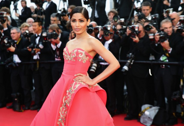 14may FreidaPintoCannes04 612x421 Cannes Update: Freida Pintos red carpet looks