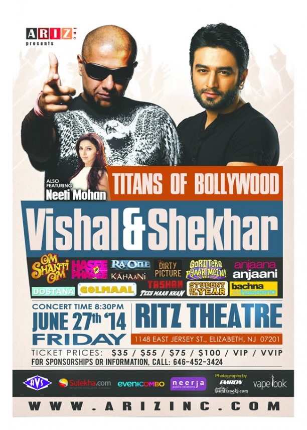 ariz vs 650 612x856 Vishal & Shekhar coming in concert to New Jersey!