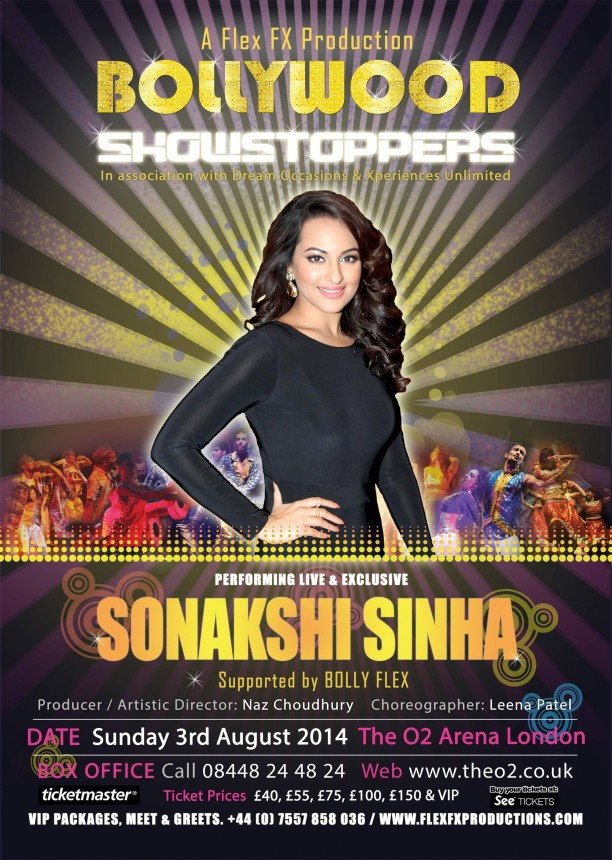 bollywoodshowstoppersposter3 612x860 Get Ready! Shahid, Sonakshi, Ali, Jacqueline and Mika are coming to the O2 for Bollywood Showstoppers