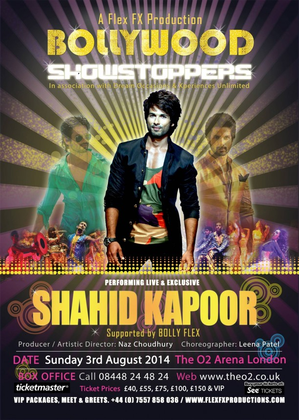 bollywoodshowstoppersposter4 612x860 Get Ready! Shahid, Sonakshi, Ali, Jacqueline and Mika are coming to the O2 for Bollywood Showstoppers