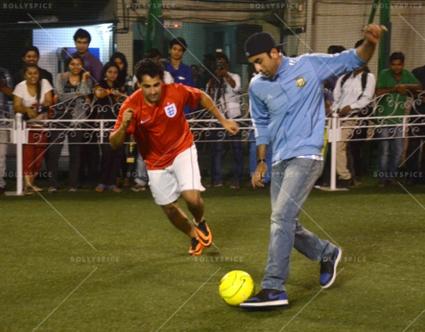 14jun ranbirfootball 06 612x479 Armaan and Ranbir come together to celebrate the football fever!!