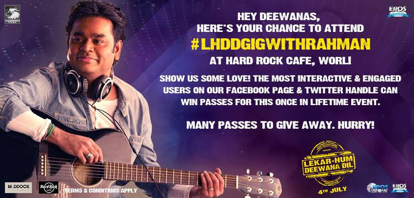rahmanlhdd A.R. Rahman to perform his music at the 'Lekar Hum Deewana Dil' Musical Evening