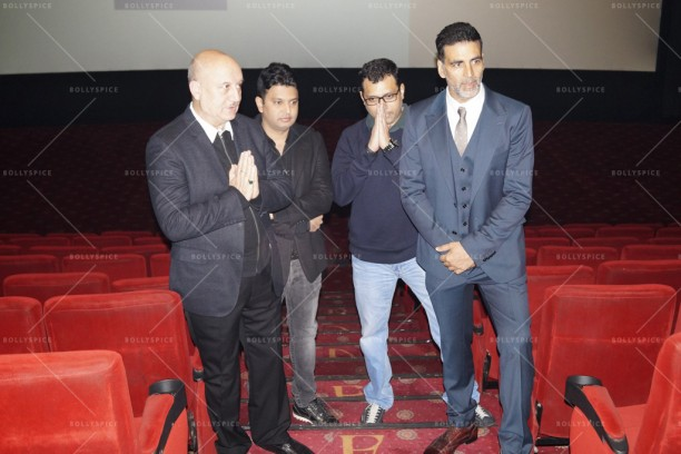 (L to R) Anupam Kher, Bhushan Kumar, Neeraj Pandey, Akshay Kumar