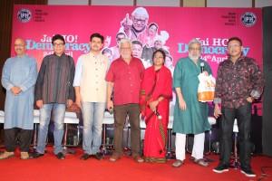 The cast of upcoming satirical comedy- Jai Ho Democracy at the trailer launch in Mumbai. L-R Vijay Kashyap, Benjamin Gilani, Bikramjeet Bhullar (Co-director), Om Puri, Seema Biswas, Ranjit Kapoor (writer-director), Annu KapoorJPG