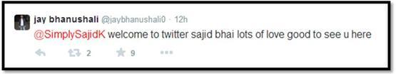 Sajid Khan Twitter - Jay Bhanushali