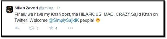 Sajid Khan Twitter - Milap Zaveri