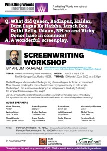 Screenwriting Workshop at Whistling Woods International by Anjum Rajabali