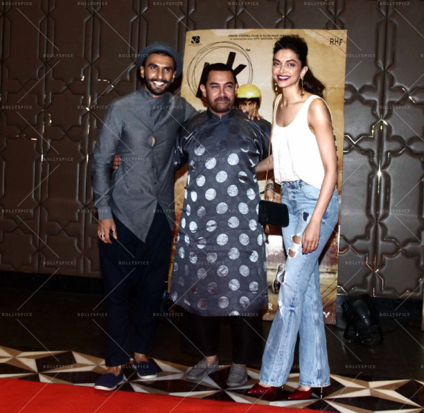 Bollywood actors Ranveer Singh, Aamir Khan and Deepika Padukone during the success party of film P K