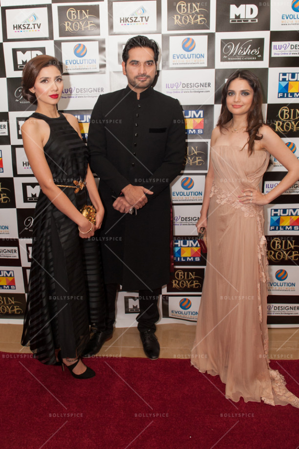 L-R Star cast of the film - Mahira Khan, Humayan Saeed, Armeena Khan