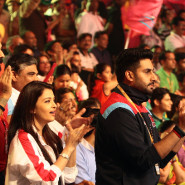 Abhishek and Aishwarya Rai Bachchan cheer on the Pink Panthers