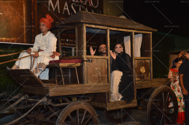 Bajirao Mastani stars Deepika Padukone and Ranveer Singh arrive in style at the official trailer launch