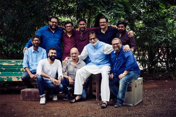 Standing L to R: Dipankar Jojo, Nihar Ranjan Samal, Shoojit Sircar, Bishwadeep Chatterjee, Sinoy Joseph,  Sitting L to R: Avik Mukhopadhayay, Shantanu Moitra, Amitabh Bachchan, Aniruddha Roy Chowdhury, Ronnie Lahiri